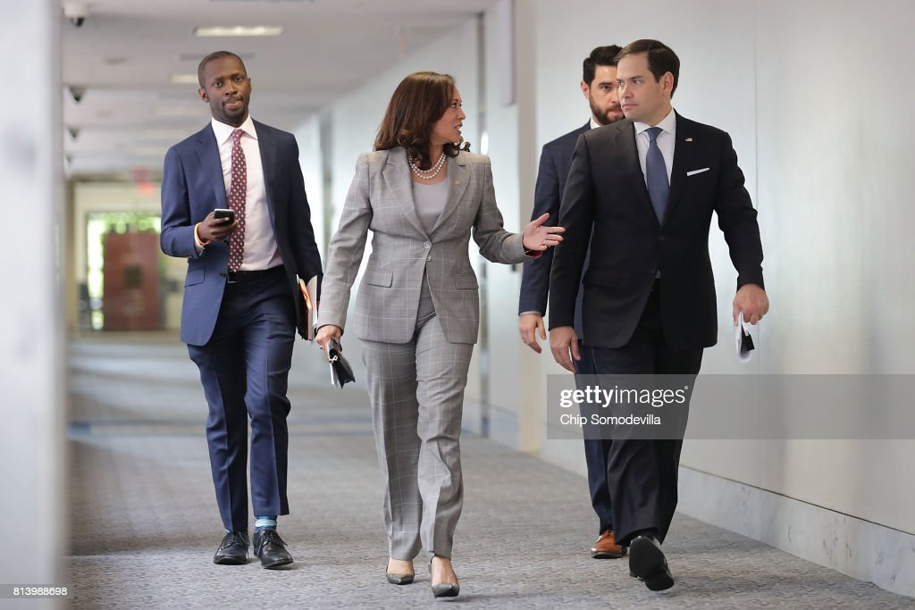 Senate Intelligence Committee members Sen. Kamala Harris (D-CA) (2nd L) and Sen. Marco Rubio (R-FL) (R) arrive for a closed-door committee meeting in the Hart Senate Office Building on Capitol Hill July 13, 2017 in Washington, DC. Some members of the committee have demanded that Donald Trump, Jr. testify before the intelligence committee after it was revealed that he and Jared Kushner and Paul Manafort met with a Russian lawyer in hopes of getting opposition information on Hillary Clinton during the 2016 election.