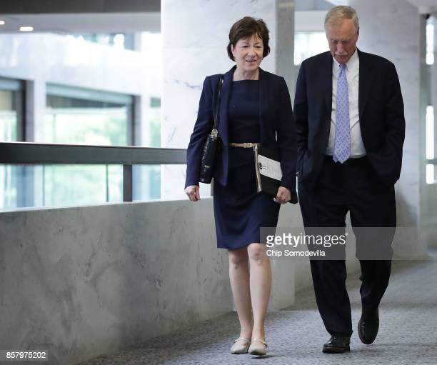 Senate Intelligence Committee members Sen Susan Collins and Sen Angus King arrive for a closeddoor hearing in the Hart Senate Office Building on...