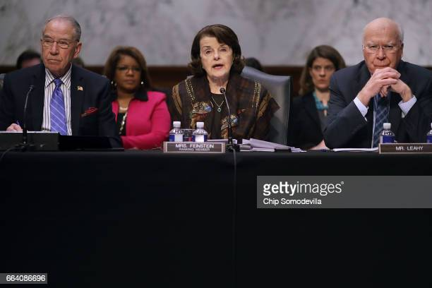 Senate Judiciary Committee Chairman Charles Grassley ranking member Sen Dianne Feinstein and Sen Patrick Leahy hold an executive business meeting to...