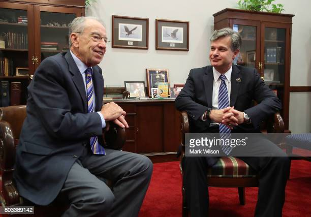 Senate Judiciary Committee Chairman Chuck Grassley meets with FBI Director nominee Christopher Wray in his office on Capitol Hill on June 29 2017 in...