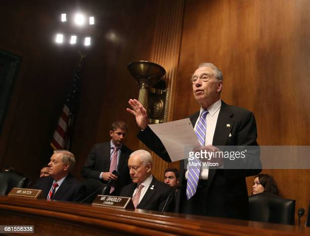 Senate Judiciary Committee Chairman Chuck Grassley swears in Justice Department nominees Noel Francisco to be Solicitor General Makan Delrahim to be...