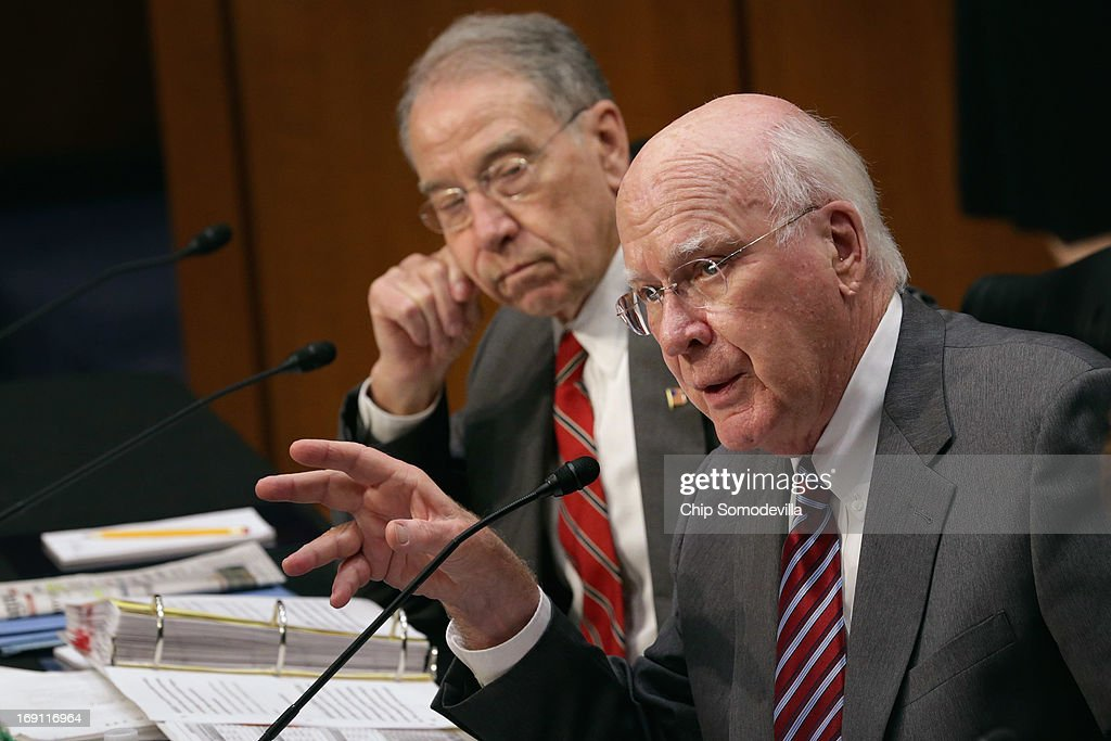 Senate Judiciary Committee Chairman Patrick Leahy (D-VT) (R) and ranking member Sen. Charles Grassley (R-IA) debate during a markup session for the immigration reform legislation in the Hart Senate Office Building on Capitol Hill May 20, 2013 in Washington, DC. The Judiciary Committee is hoping to wrap up work on the landmark immigration reform bill this week after wading through the 300 amendments that were filed to the bipartisan bill.