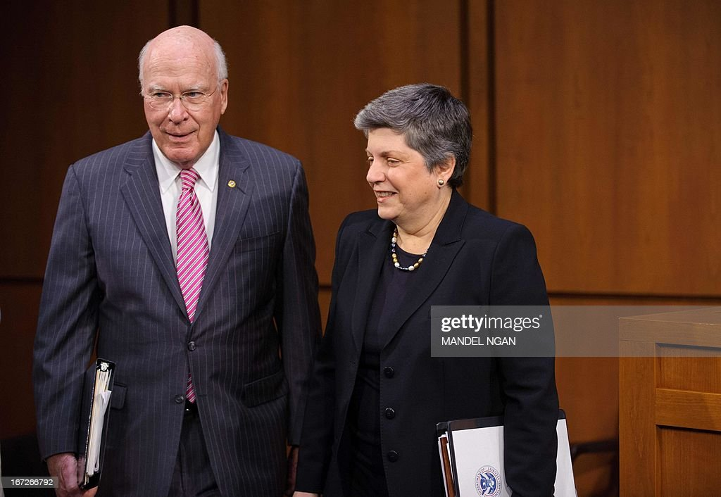 Senate Judiciary Committee Chairman Patrick Leahy, D-VT, walks with Homeland Security Secretary Janet Napolitano as she arrives to testifies before the Senate Judiciary Committee on S.744, the 'Border Security, Economic Opportunity, and Immigration Modernization Act.' on April 23 2013 in the Hart Senate Office Building on Capitol Hill in Washington, DC. AFP PHOTO/Mandel NGAN