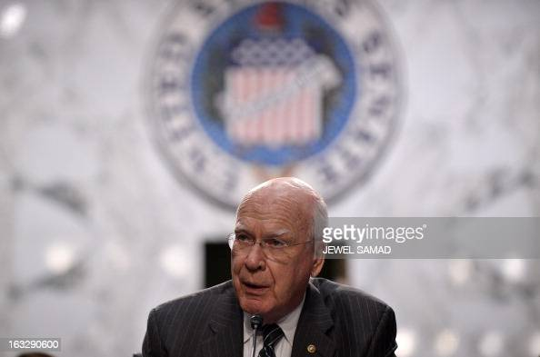 Senate Judiciary Committee Chairman Patrick Leahy holds a hearing on gun control at the Hart Senate Office Building in Washington DC on March 7 2013...