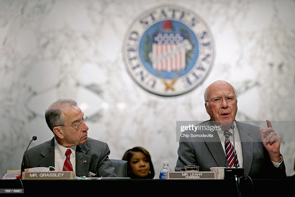 Senate Judiciary Committee Chairman Patrick Leahy (D-VT) ()R and ranking member Sen. Charles Grassley (R-IA) debate during a markup session for the immigration reform legislation in the Hart Senate Office Building on Capitol Hill May 20, 2013 in Washington, DC. The Judiciary Committee is hoping to wrap up work on the landmark immigration reform bill this week after wading through the 300 amendments that were filed to the bipartisan bill.