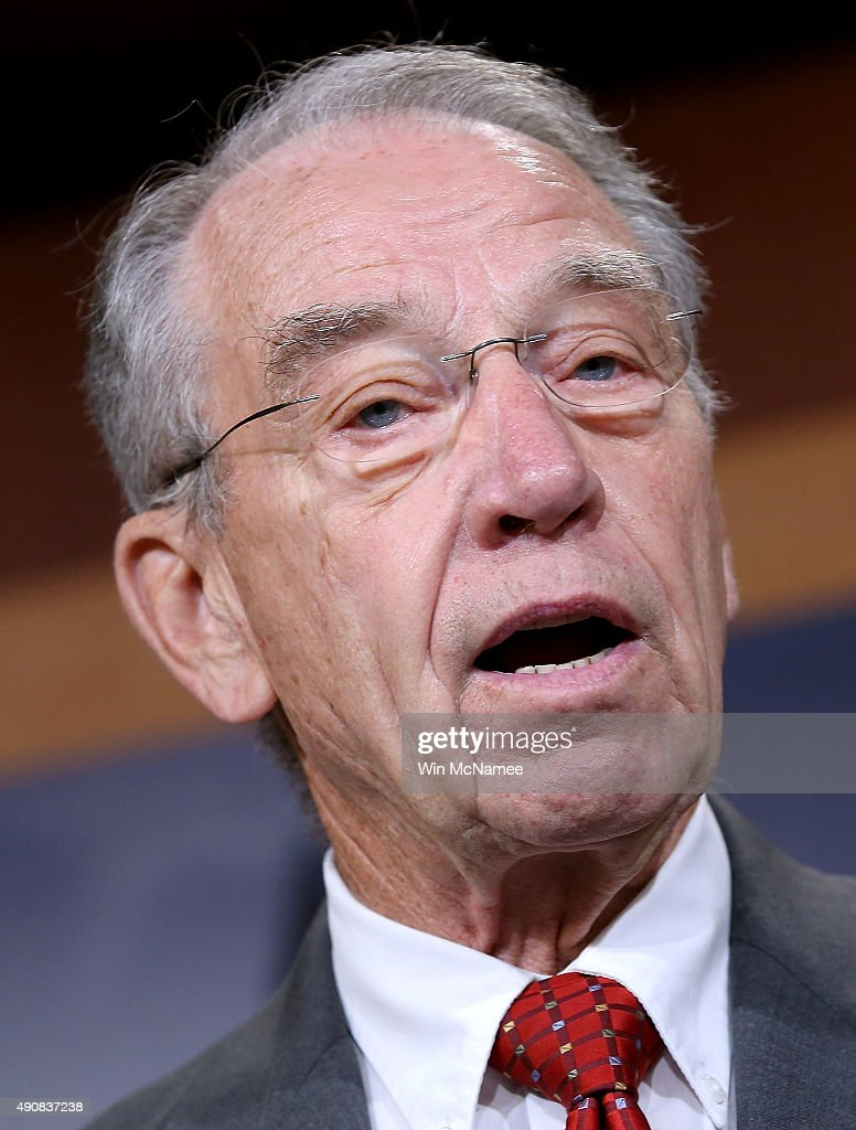 Senate Judiciary Committee Chairman Sen. <a gi-track='captionPersonalityLinkClicked' href=/galleries/search?phrase=Chuck+Grassley&family=editorial&specificpeople=504960 ng-click='$event.stopPropagation()'>Chuck Grassley</a> (R-IA) speaks during a press conference at the U.S. Capitol announcing a bipartisan effort to reform the criminal justice system October 1, 2015 in Washington, DC. A bipartisan group of senators led by Grassley and Assistant Democratic Leader Dick Durbin (D-IL) is introducing legislation aimed at restructuring prison sentences for certain drug offenders, targeting violent criminals, and granting judges greater discretion at sentencing in lower-level drug crimes.