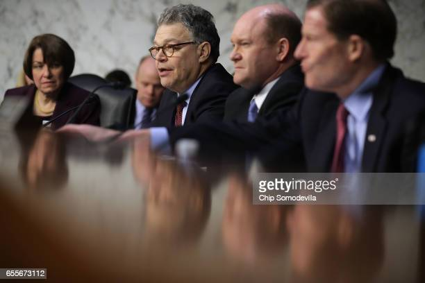 Senate Judiciary Committee member Al Franken delivers an opening statement during Judge Neil Gorsuch's Supreme Court confirmation hearing with Sen...