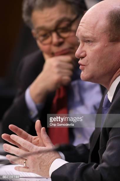 Senate Judiciary Committee member Sen Chris Coons announces that he will be the 41st Democrat to vote against ending debate on the confirmation of...