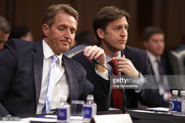 Senate Judiciary Committee members Sen Jeff Flake and Sen Ben Sasse attend an executive business meeting to debate and vote on Supreme Court nominee...