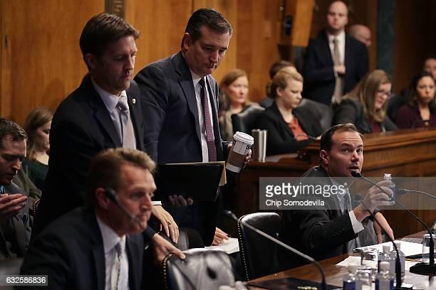 Senate Judiciary Committee members Sen Jeff Flake Sen Ben Sasse Sen Ted Cruz and Sen Mike Lee participate in a mark up session in the Dirksen Senate...