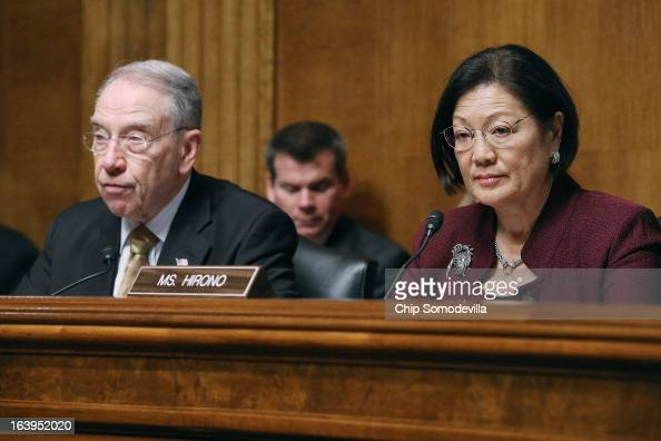 Senate Judiciary Committee ranking member Sen Charles Grassley and Sen Mazie Hirono deliver opening remarks during a full committee hearing March 18...