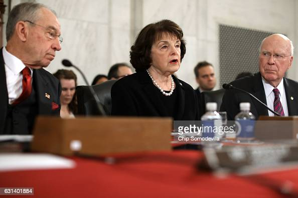 Senate Judiciary Committee ranking member Sen Dianne Feinstein delivers opening remarks during the confirmation hearing for Sen Jeff Sessions to be...