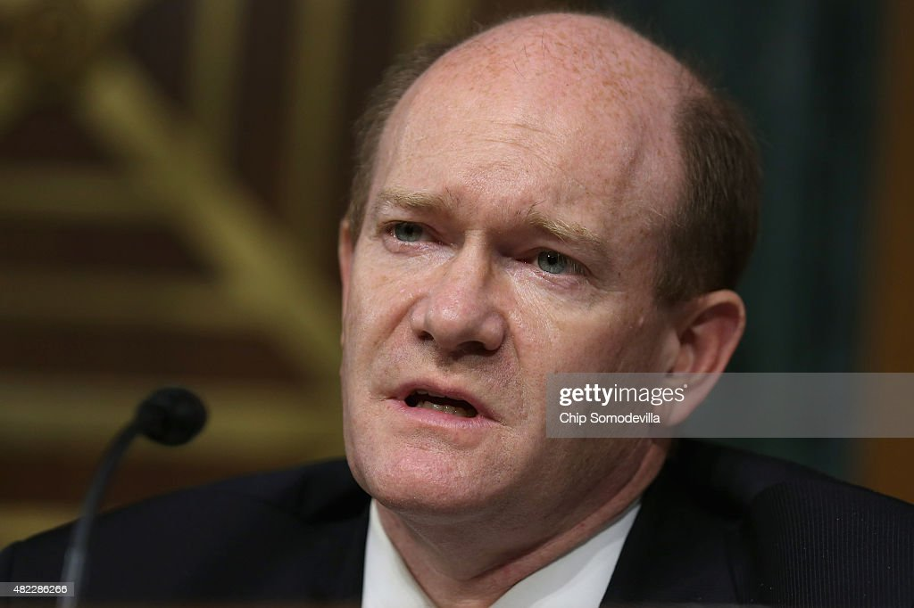 U.S. Senate Judiciary Committee's Oversight, Agency Action, Federal Rights and Federal Courts Subcommittee ranking member Sen. Chris Coons (D-DE) questions the Internal Revenue Service commissioner during a hearing in the Dirksen Senate Office Building on Capitol Hill July 29, 2015 in Washington, DC. IRS Commissioner John Koskinen continued to face questions about alleged IRS targeting of political groups for extra scrutiny when applying for tax-exempt status.