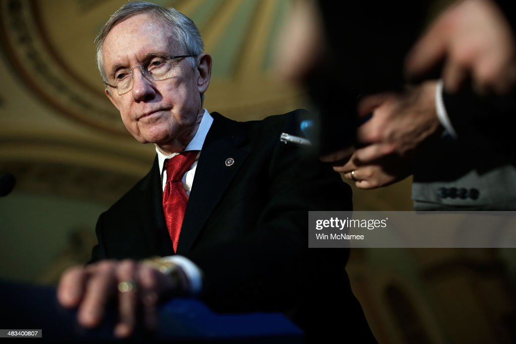 Senate Majorirty Leader <a gi-track='captionPersonalityLinkClicked' href=/galleries/search?phrase=Harry+Reid+-+Politico&family=editorial&specificpeople=203136 ng-click='$event.stopPropagation()'>Harry Reid</a> (D-NV) speaks with reporters following the weekly policy luncheon for Senate Democrats April 8, 2014 in Washington, DC. Senate Democrats and Republicans are currently discussing legislation proposed by each side to alleviate a gap in wages between men and women.