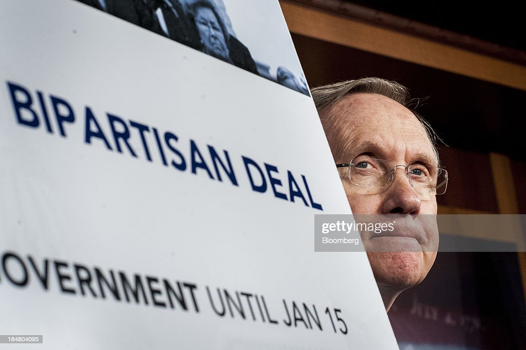 Senate Majority Leader <a gi-track='captionPersonalityLinkClicked' href=/galleries/search?phrase=Harry+Reid+-+Politician&family=editorial&specificpeople=203136 ng-click='$event.stopPropagation()'>Harry Reid</a>, a Democrat from Nevada, attends a news conference at the U.S. Capitol in Washington, D.C., U.S., on Wednesday, Oct. 16, 2013. The Senate voted 81-18 to halt the 16-day government shutdown and raise the U.S. debt limit, moving one step closer to ending the nation's fiscal impasse. Photographer: Pete Marovich/Bloomberg via Getty Images