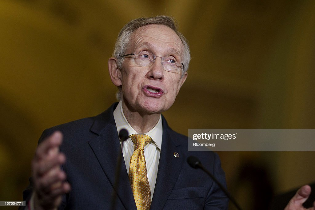 Senate Majority Leader Harry Reid, a Democrat from Nevada, speaks during a news conference after the weekly Senate Democratic Policy Committee meeting at the U.S. Capitol in Washington, D.C., U.S., on Tuesday, Dec. 4, 2012. Negotiations over the so-called fiscal cliff are stalled as President Obama and Republicans trade offers on ways to avoid more than $600 billion in U.S. spending cuts and tax increases for 2013 that will start to take effect in January if Congress doesn't act. Photographer: Andrew Harrer/Bloomberg via Getty Images