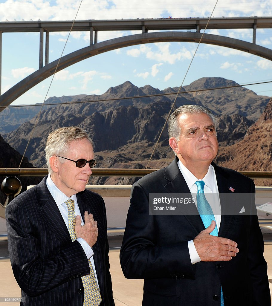 U.S. Senate Majority Leader Harry Reid (D-NV) (L) and U.S. Transportation Secretary Ray LaHood attend the dedication of the Mike O'Callaghan-Pat Tillman Memorial Bridge part of the Hoover Dam Bypass Project October 14, 2010 in the Lake Mead National Recreation Area, Nevada. The 1,900-foot-long structure sits 890 feet above the Colorado River, about a quarter of a mile downstream from the Hoover Dam. The USD 240 million project to relieve vehicle traffic on the Hoover Dam began in 2003, and is scheduled to be open to traffic by next week.