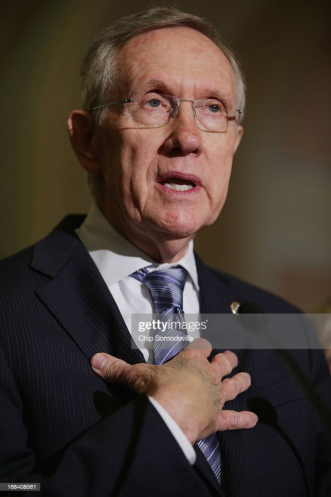 Senate Majority Leader Harry Reid answers reporters questions before a Senate Democratic Policy Committee luncheon meeting at the US Capitol May 9...