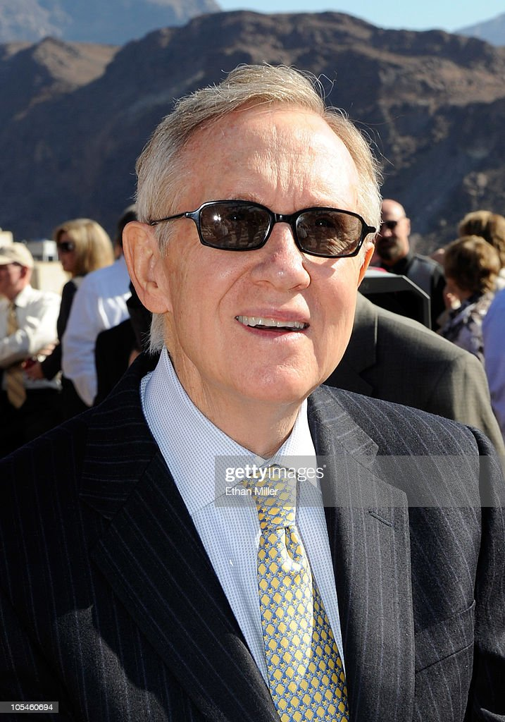 U.S. Senate Majority Leader <a gi-track='captionPersonalityLinkClicked' href=/galleries/search?phrase=Harry+Reid+-+Politician&family=editorial&specificpeople=203136 ng-click='$event.stopPropagation()'>Harry Reid</a> (D-NV) arrives at the dedication of the Mike O'Callaghan-Pat Tillman Memorial Bridge part of the Hoover Dam Bypass Project October 14, 2010 in the Lake Mead National Recreation Area, Nevada. The 1,900-foot-long structure sits 890 feet above the Colorado River, about a quarter of a mile downstream from the Hoover Dam. The USD 240 million project to relieve vehicle traffic on the Hoover Dam began in 2003, and is scheduled to be open to traffic by next week.