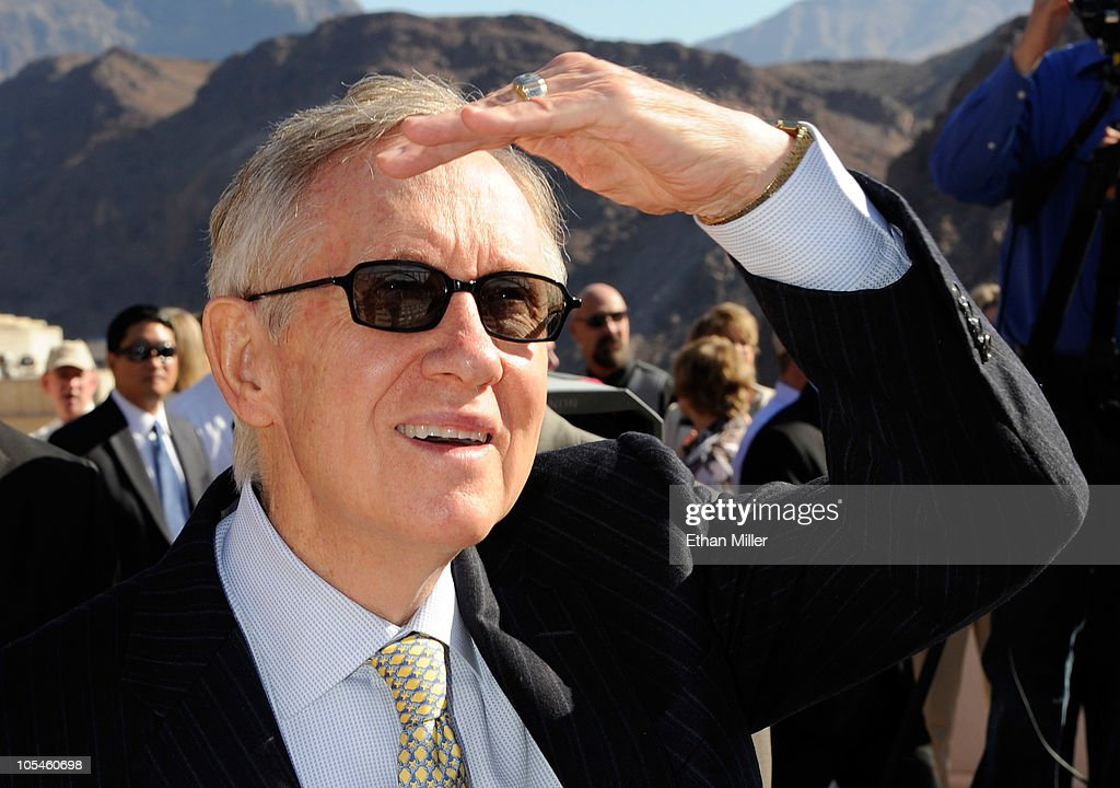 U.S. Senate Majority Leader Harry Reid (D-NV) arrives at the dedication of the Mike O'Callaghan-Pat Tillman Memorial Bridge part of the Hoover Dam Bypass Project October 14, 2010 in the Lake Mead National Recreation Area, Nevada. The 1,900-foot-long structure sits 890 feet above the Colorado River, about a quarter of a mile downstream from the Hoover Dam. The USD 240 million project to relieve vehicle traffic on the Hoover Dam began in 2003, and is scheduled to be open to traffic by next week.
