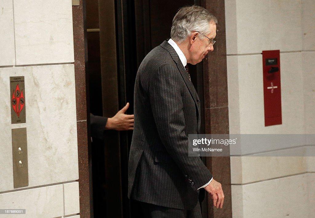 U.S. Senate Majority Leader Harry Reid (D-NV) arrives for a meeting with Vice President Joe Biden and memners of the Senate Democratic leadership on negotiations with Iran November 13, 2013 in Washington, DC.