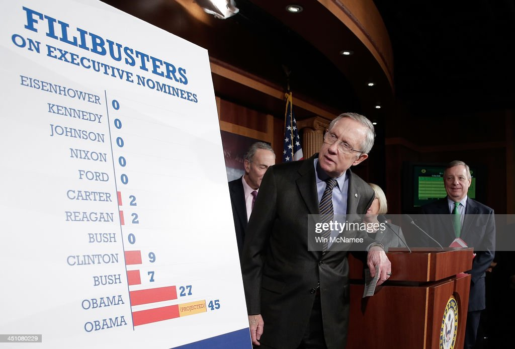 Senate Majority Leader <a gi-track='captionPersonalityLinkClicked' href=/galleries/search?phrase=Harry+Reid+-+Politician&family=editorial&specificpeople=203136 ng-click='$event.stopPropagation()'>Harry Reid</a> (D-NV) (C) arrives for a press conference with Sen. <a gi-track='captionPersonalityLinkClicked' href=/galleries/search?phrase=Charles+Schumer&family=editorial&specificpeople=171249 ng-click='$event.stopPropagation()'>Charles Schumer</a> (D-NY) (L) and Sen. Richard Durbin (D-IL) after the U.S. Senate passed the 'nuclear option', a controversial rules change relating to filibusters, at the U.S. Capitol November 21, 2013 in Washington, DC. The Senate voted 52-48 to change Senate rules on the filibusters for most presidential nominations with a simple majority vote.