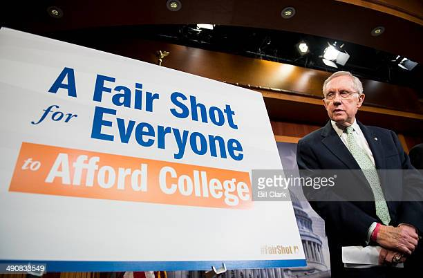 Senate Majority Leader Harry Reid DNev and Senate Democratic leaders hold a news conference on college affordability on Thursday May 15 2014