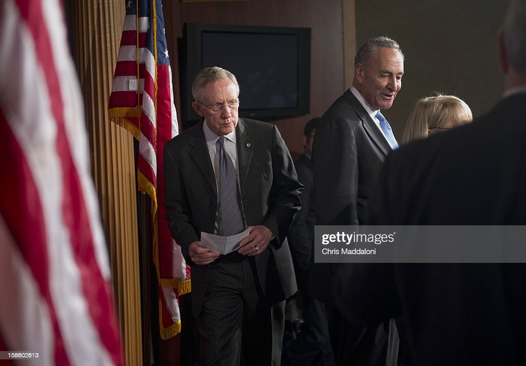 Senate Majority Leader Harry Reid, D-Nev., arrives at a press conference in the Capitol about the ongoing 'Fiscal Cliff' crisis. He said the House's 'Plan B,' the GOP alternative to the President's plan, would be 'dead on arrival.'