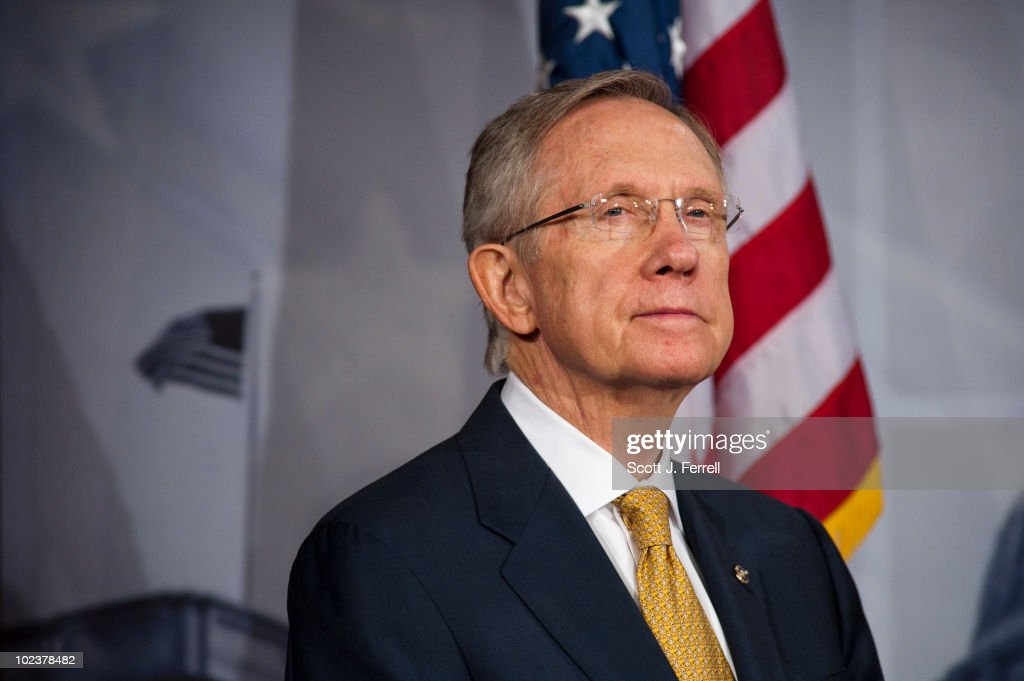 Senate Majority Leader Harry Reid, D-Nev., during a news conference on tax extenders. The Senate may try again Thursday to advance a package of tax and benefit extensions, but Majority Leader Harry Reid held out little hope that the effort will succeed. ÒIÕve come to the conclusion that the other side doesnÕt want a solution,Ó Reid, D-Nev., said on the floor Thursday morning. He blamed Republicans for killing a long list of now-expired tax and benefit programs that the bill (HR 4213) would revive. ÒThe time to decide is closing in on us. But itÕs not over yet. ItÕs not too late to do what is right.Ó