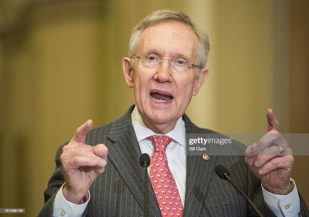 Senate Majority Leader Harry Reid, D-Nev., holds his news conference in the Ohio Clock Corridor after the Senate Democrats' policy lunch in the Capitol on Tuesday, Feb. 12, 2013.