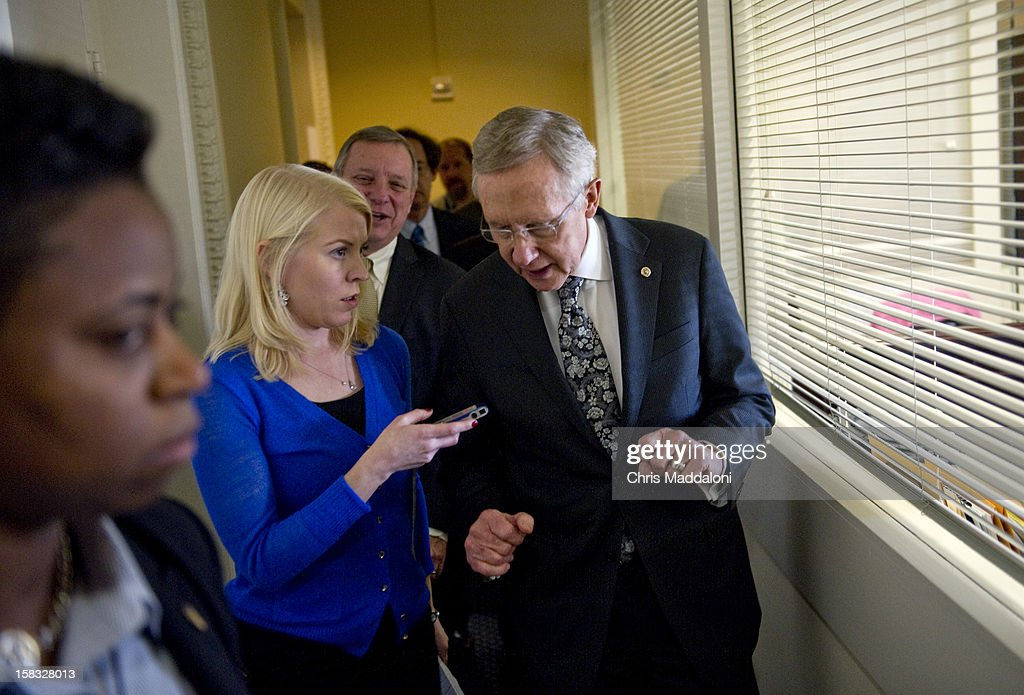 Senate Majority Leader Harry Reid, D-Nev., is interviewed after a press conference addressing the ongoing 'Fiscal Cliff' negotiations and funding for Hurricane Sandy relief efforts.