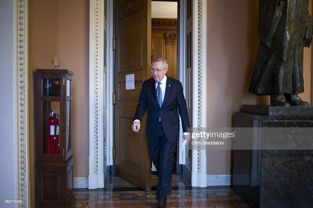 Senate Majority Leader Harry Reid, D-Nev., prepares to speak to the press at the weekly Senate luncheons. Reid said the GOP has 'no solution' to the sequestration issue.