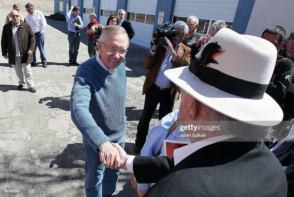 S Senate Majority Leader Harry Reid greets supporters during a campaign stop April 6 2010 in Stagecoach Nevada Sen Reid continues his three day bus...