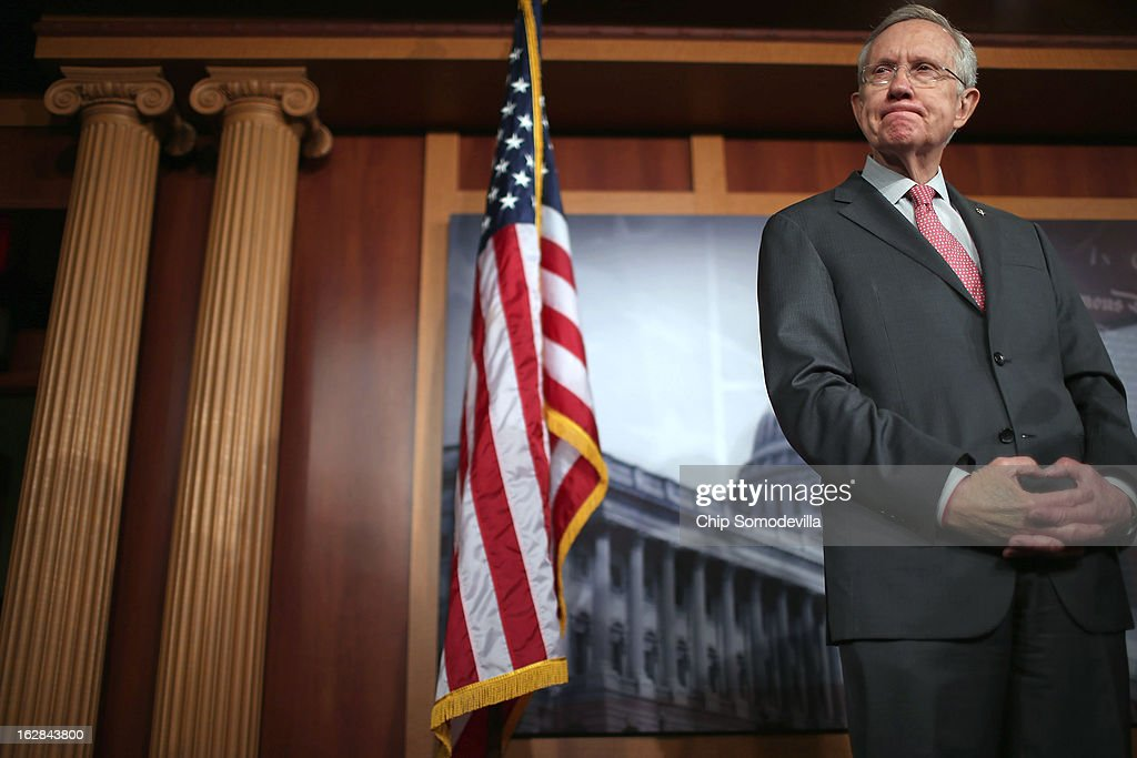 Senate Majority Leader <a gi-track='captionPersonalityLinkClicked' href=/galleries/search?phrase=Harry+Reid+-+Politicus&family=editorial&specificpeople=203136 ng-click='$event.stopPropagation()'>Harry Reid</a> (D-NV) holds a news conference at the U.S. Capitol on the eve of the budget sequester February 28, 2013 in Washington, DC. Referring to the sequester, Senate Chaplain Barry Black opened today's session with the prayer, 'As we anticipate an across-the-board budget cuts across our land, we still expect to see your goodness prevail, O God, and save us from ourselves.'