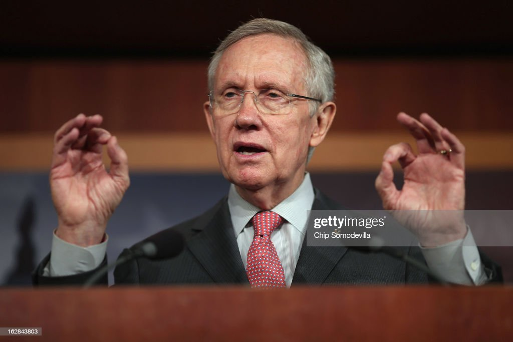 Senate Majority Leader <a gi-track='captionPersonalityLinkClicked' href=/galleries/search?phrase=Harry+Reid+-+Politician&family=editorial&specificpeople=203136 ng-click='$event.stopPropagation()'>Harry Reid</a> (D-NV) holds a news conference at the U.S. Capitol on the eve of the budget sequester February 28, 2013 in Washington, DC. Referring to the sequester, Senate Chaplain Barry Black opened today's session with the prayer, 'As we anticipate an across-the-board budget cuts across our land, we still expect to see your goodness prevail, O God, and save us from ourselves.'