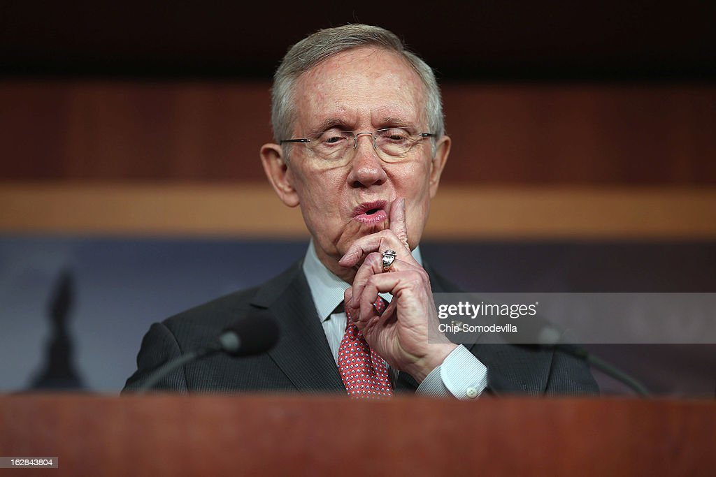Senate Majority Leader <a gi-track='captionPersonalityLinkClicked' href=/galleries/search?phrase=Harry+Reid+-+Homme+politique&family=editorial&specificpeople=203136 ng-click='$event.stopPropagation()'>Harry Reid</a> (D-NV) holds a news conference at the U.S. Capitol on the eve of the budget sequester February 28, 2013 in Washington, DC. Referring to the sequester, Senate Chaplain Barry Black opened today's session with the prayer, 'As we anticipate an across-the-board budget cuts across our land, we still expect to see your goodness prevail, O God, and save us from ourselves.'