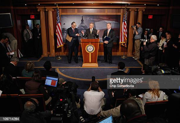 Senate Majority Leader Harry Reid holds a news conference with US Sen Charles Schumer and Senate Majority Whip Richard Durbin after the Senate voted...