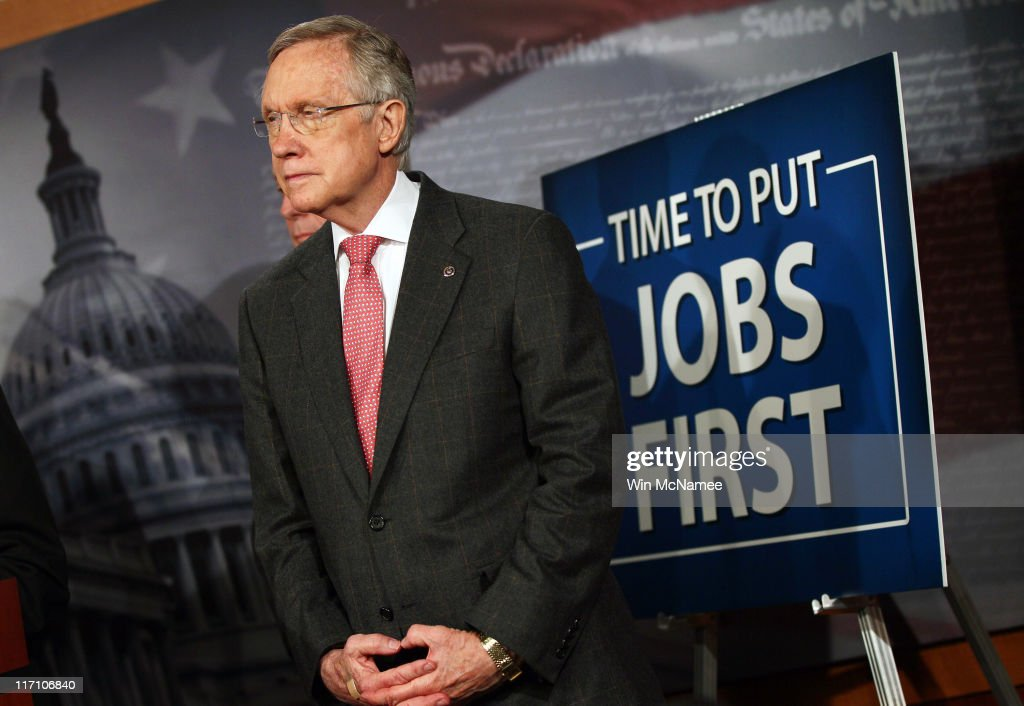 Senate Majority Leader <a gi-track='captionPersonalityLinkClicked' href=/galleries/search?phrase=Harry+Reid+-+Politician&family=editorial&specificpeople=203136 ng-click='$event.stopPropagation()'>Harry Reid</a> (D-NV) listens as other senators speak during a press conference on job creation at the U.S. Capitol on June 22, 2011 in Washington, DC. Democrats in the U.S. Senate are re-introducing an economic development bill today that has been rejected by Senate Republicans previously.