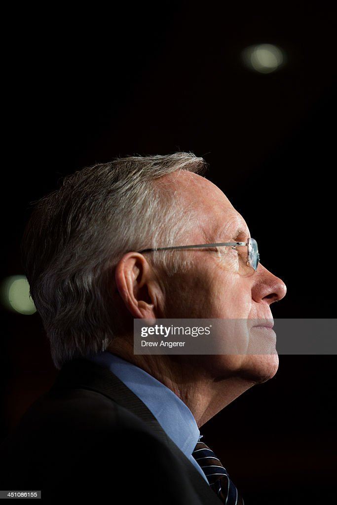 Senate Majority Leader <a gi-track='captionPersonalityLinkClicked' href=/galleries/search?phrase=Harry+Reid+-+Politician&family=editorial&specificpeople=203136 ng-click='$event.stopPropagation()'>Harry Reid</a> (D-NV) looks on during a news conference on Capitol Hill, November 21, 2013 in Washington, DC. The Senate voted 52-48 to invoke the so-called 'nuclear option', voting to change Senate rules on the controversial filibuster for most presidential nominations with a simple majority vote.