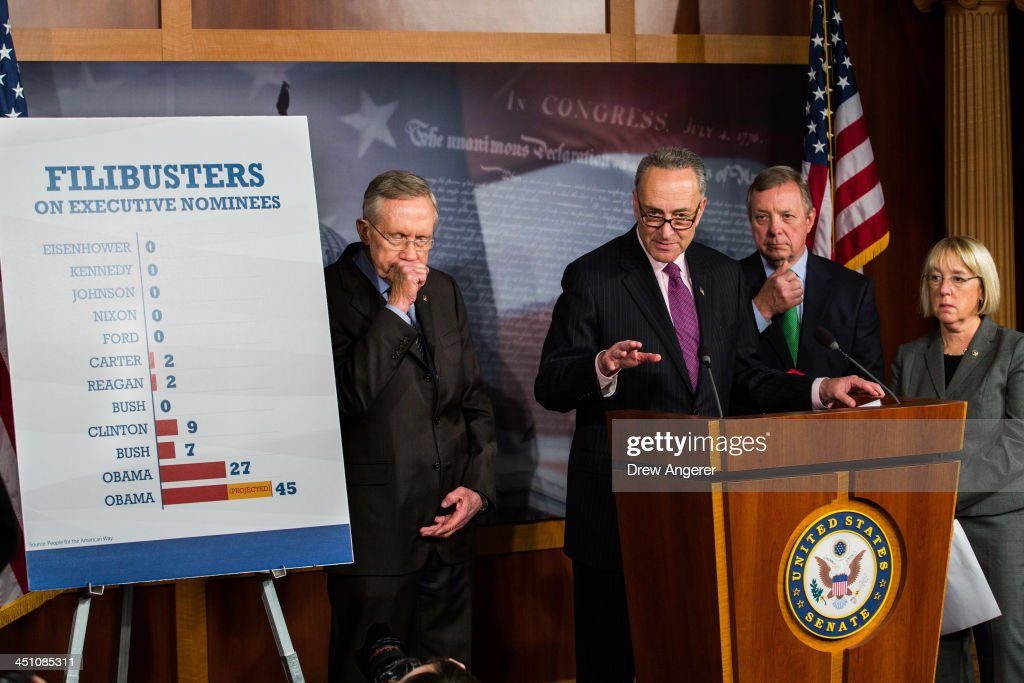 Senate Majority Leader Harry Reid (D-NV), Sen. Chuck Schumer (D-NY), Sen. Dick Durbin (D-IL), and Sen. Patty Murray (D-WA) hold a news conference on Capitol Hill, November 21, 2013 in Washington, DC. The Senate voted 52-48 to invoke the so-called 'nuclear option', voting to change Senate rules on the controversial filibuster for most presidential nominations with a simple majority vote.