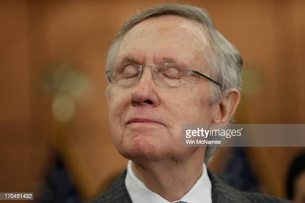 Senate Majority Leader Harry Reid speaks about his father who committed suicide during an event marking the six month anniversary of the Newtown...