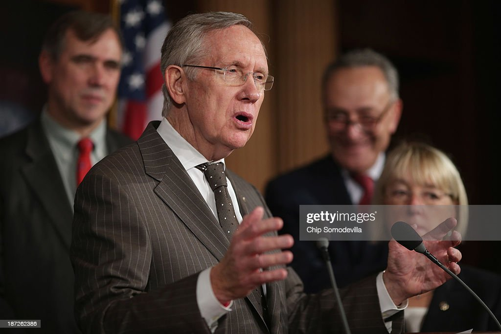 Senate Majority Leader <a gi-track='captionPersonalityLinkClicked' href=/galleries/search?phrase=Harry+Reid+-+Politician&family=editorial&specificpeople=203136 ng-click='$event.stopPropagation()'>Harry Reid</a> (D-NV) (2nd L) speaks during a news conference before the final passage of the Employment Non-Discrimination Act with (L-R) Sen. <a gi-track='captionPersonalityLinkClicked' href=/galleries/search?phrase=Jeff+Merkley&family=editorial&specificpeople=5507302 ng-click='$event.stopPropagation()'>Jeff Merkley</a> (D-OR), Sen. <a gi-track='captionPersonalityLinkClicked' href=/galleries/search?phrase=Charles+Schumer&family=editorial&specificpeople=171249 ng-click='$event.stopPropagation()'>Charles Schumer</a> (D-NY) and Sen. <a gi-track='captionPersonalityLinkClicked' href=/galleries/search?phrase=Patty+Murray&family=editorial&specificpeople=532963 ng-click='$event.stopPropagation()'>Patty Murray</a> (D-WA) at the U.S. Capitol November 7, 2013 in Washington, DC. The bill, which protects gay, lesbian, bisexual and transgendered people from being fired because of their sexual orientation, is not expected to be taken up by the GOP-controlled House of Representatives.