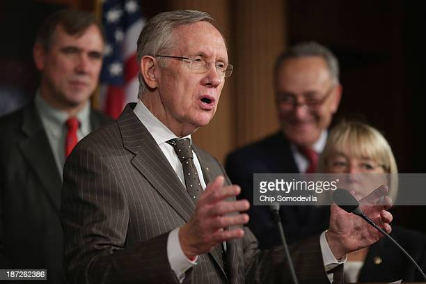 Senate Majority Leader Harry Reid speaks during a news conference before the final passage of the Employment NonDiscrimination Act with Sen Jeff...