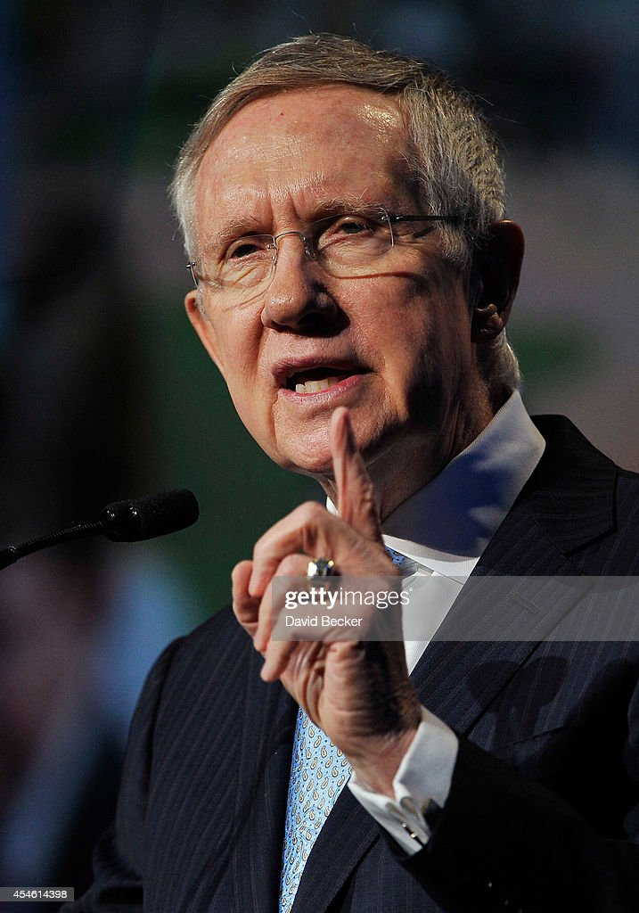 S Senate Majority Leader Harry Reid speaks during the National Clean Energy Summit 70 at the Mandalay Bay Convention Center on September 4 2014 in...