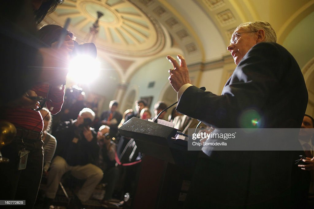 Senate Majority Leader <a gi-track='captionPersonalityLinkClicked' href=/galleries/search?phrase=Harry+Reid&family=editorial&specificpeople=203136 ng-click='$event.stopPropagation()'>Harry Reid</a> (D-NV) speaks to reporters after the weekly Senate Democratic policy luncheon at the U.S. Capitol February 26, 2013 in Washington, DC. Reed said that finding a solution to the sequestration lies with the House Republicans and that Speaker of the House John Boehner (R-OH) was wrong when he said, 'We should not have to move a third bill before the Senate gets off their ass and begins to do something.'