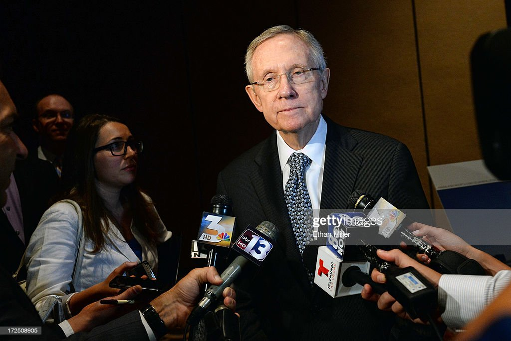 U.S. Senate Majority Leader <a gi-track='captionPersonalityLinkClicked' href=/galleries/search?phrase=Harry+Reid+-+Politician&family=editorial&specificpeople=203136 ng-click='$event.stopPropagation()'>Harry Reid</a> (D-NV) speaks to reporters at a news conference at the Mandalay Bay Convention Center announcing MGM Resorts International's planned installation of the world's second largest rooftop solar photovoltaic array on July 2, 2013 in Las Vegas, Nevada. The 6.2-megawatt array will use 20,000 solar panels to cover about 20 acres of the convention center's roof and will provide 20 percent of the resort's energy needs. It was also announced that the National Clean Energy Summit 6.0 will be held at the resort on August 13, 2013, and will focus on the future of clean energy.