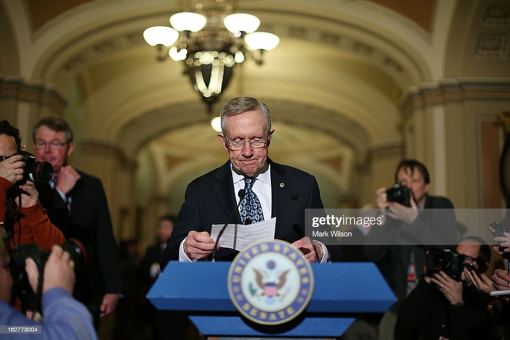 Senate Majority Leader <a gi-track='captionPersonalityLinkClicked' href=/galleries/search?phrase=Harry+Reid+-+Homme+politique&family=editorial&specificpeople=203136 ng-click='$event.stopPropagation()'>Harry Reid</a> (D-NV) speaks to the media after attending the weekly Senate Democratic policy luncheon at the U.S. Capitol February 26, 2013 in Washington, DC. Leader Reid spoke about the Democratic agenda and the possibility of sequestration and its economic impact.
