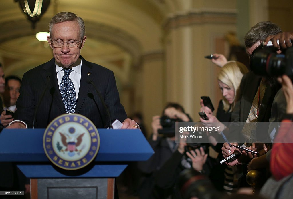 Senate Majority Leader <a gi-track='captionPersonalityLinkClicked' href=/galleries/search?phrase=Harry+Reid+-+Politiker&family=editorial&specificpeople=203136 ng-click='$event.stopPropagation()'>Harry Reid</a> (D-NV) speaks to the media after attending the weekly Senate Democratic policy luncheon at the U.S. Capitol February 26, 2013 in Washington, DC. Leader Reid spoke about the Democratic agenda and the possibility of sequestration and its economic impact.