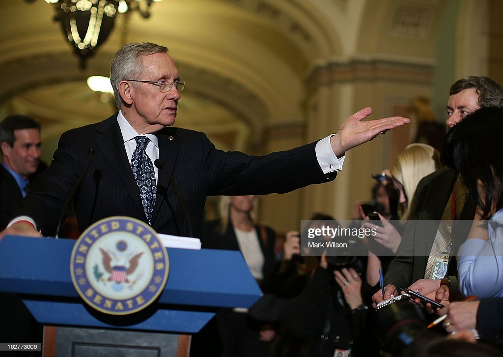 Senate Majority Leader <a gi-track='captionPersonalityLinkClicked' href=/galleries/search?phrase=Harry+Reid&family=editorial&specificpeople=203136 ng-click='$event.stopPropagation()'>Harry Reid</a> (D-NV) speaks to the media after attending the weekly Senate Democratic policy luncheon at the U.S. Capitol February 26, 2013 in Washington, DC. Leader Reid spoke about the Democratic agenda and the possibility of sequestration and its economic impact.