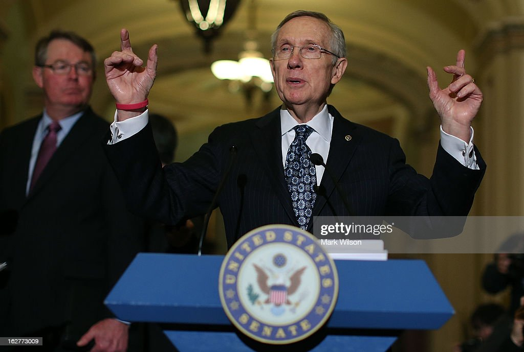 Senate Majority Leader <a gi-track='captionPersonalityLinkClicked' href=/galleries/search?phrase=Harry+Reid+-+Politico&family=editorial&specificpeople=203136 ng-click='$event.stopPropagation()'>Harry Reid</a> (D-NV) speaks to the media after attending the weekly Senate Democratic policy luncheon at the U.S. Capitol February 26, 2013 in Washington, DC. Leader Reid spoke about the Democratic agenda and the possibility of sequestration and its economic impact.